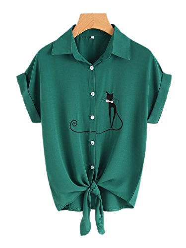 7 Up Green (Roshop Womens Tie Front Knot Tops Shirts Stripe Button-Down T-Shirt Cute Blouse Short Sleeve Tee (6-8(Tags XL), Green))
