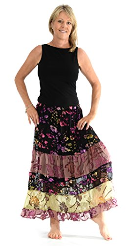 My Boyfriend's Back Captivating Velvet Burnout Floral Boho Skirt (Large)