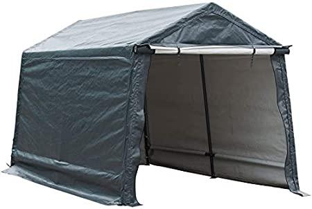 Amazon Com Abba Patio Outdoor Storage Shelter With Rollup Door Storage Shed Portable Garage Kit Tent For Motocycle Garden Storage Grey 8 X 14 Ft Garden Outdoor