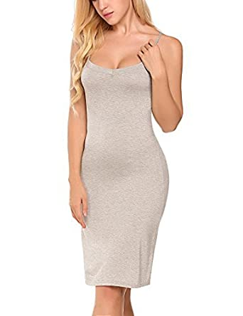 6880166f2d3 Goodfans Women Cotton Blend Spaghetti Strap Full Slip Under Dress Liner at  Amazon Women's Clothing store: