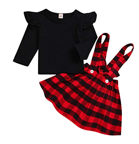 Toddler Infant Kids Baby Girls Plaid Print Dress Outfits Clothes Dress (Black, 12-18 Months) ()