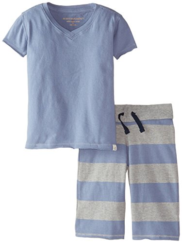 Burt's Bees Little Boys' Toddler Organic Solid V-Neck Tee and Rugby Stripe Board Short, Twilight, 4T