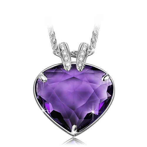 LadyColour Purple Heart Pendant Necklace Swarovski Crystals Silver Tone Jewelry for Women