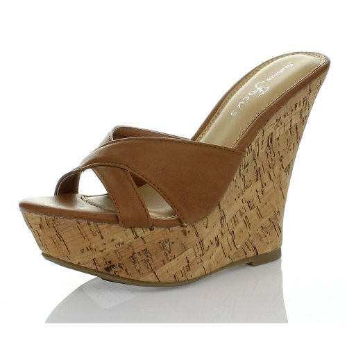 2fa661dd4 Fashion Focus Women's Ardo-39 Wedge Sandals Slides,Cognac,6 - Buy Online in  Oman. | Apparel Products in Oman - See Prices, Reviews and Free Delivery in  ...