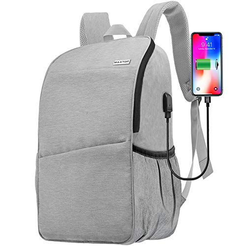 Travel Laptop Backpack Business Water-Resistant Anti-Theft Computer Backpacks with USB Charging Port and Headphone Hole College School Bookbag for Men Women Fits Laptop up to 15.6 inch (Light Grey)