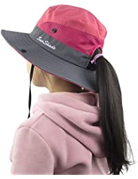 a2405be5 Kids Girls Ponytail Summer Sun Hat Wide Brim UV Protection Bucket Cap
