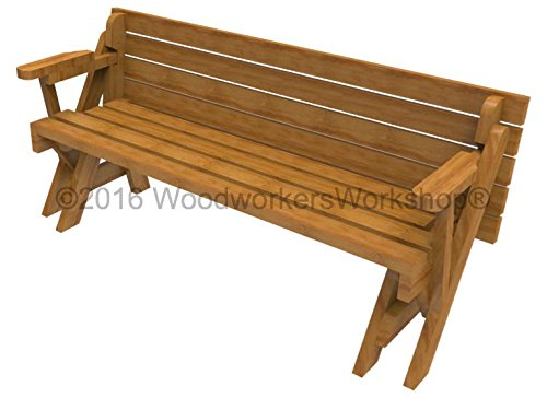 Woodworkersworkshop Woodworking Plan To Build A Convertible Folding Bench Picnic Table Not A