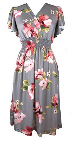 (Vibrant V-Neck Knee Length Dress - Assorted Styles Plus & Regular Sizes Hibiscus Gry 3X)