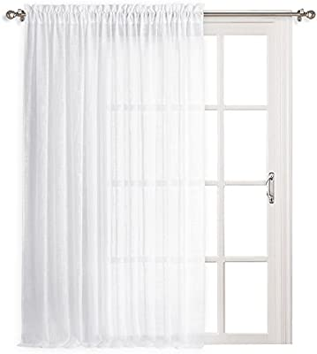 Amazon Ryb Home Extra Wide Linen Sheer Curtains Thick White