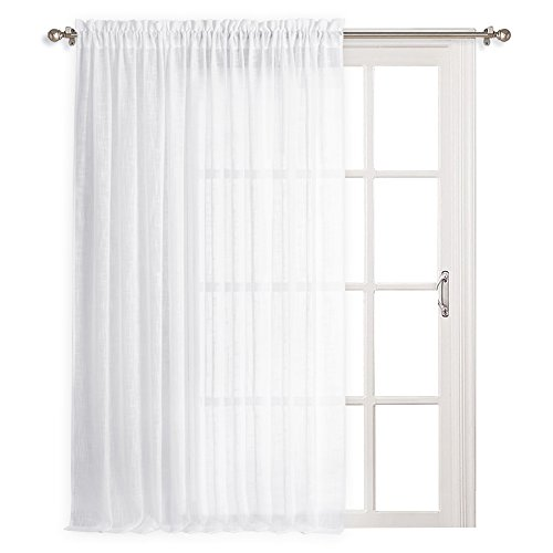 RYB HOME White Sheer Linen Look Curtains Long Semi-sheer Curtain Drape Summer Heat Fading Soften the Light for Indoor Window/Living Room/Gazebo / Porch, Wide 100