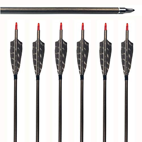 Hunter 5575 Arrows - MS JUMPPER 6 Pack Hunting Carbon Arrows 340 Spine with Real Turkey Feathers and Replaceable Tips for Compound Recurve Bows (29 inch)