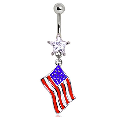 WildKlass Jewelry 316L Surgical Steel USA Flag Navel Ring