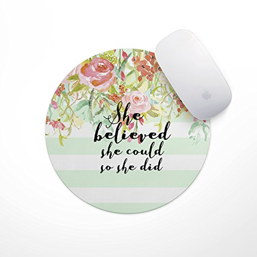 She Believed She Could Mint Stripe Mouse Pad - Neoprene Inspirational Quote Mousepad, Office Space Decor, Home Office, Computer Accessories