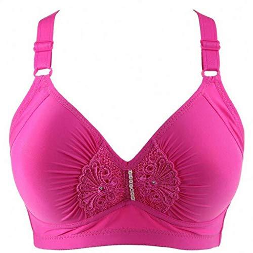 ALLYOUNG #669 Women's Underwear Gathered Underwear Sexy Lace Wire Free Underwear Bra (Hot Pink, 80)