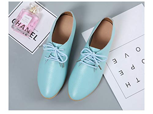 Chaussures Bleu Bout Mocassins Pour Lacets À Décontractés Pointu Ciel Femmes UqUZF