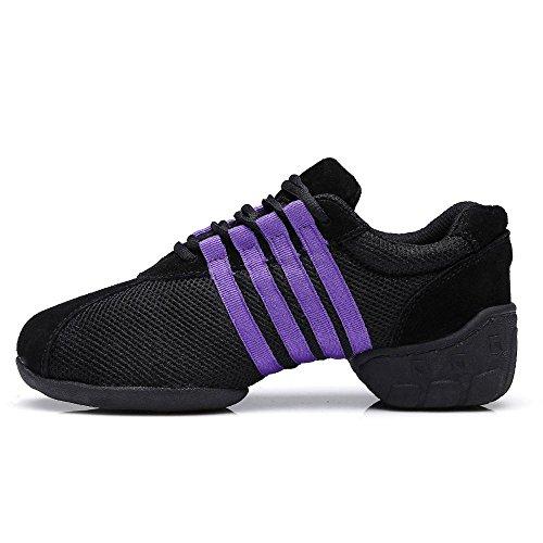 YFF Tanzschuhe Comfort Sneaker für Frauen Ballroom Jazz Purple Mesh