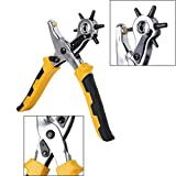 Revolving Leather Belt Hole Punch Plier, Eyelet and Snap Setting Pliers Hand Puncher Tool Kit Great for Crafts, DIY, Belts, Dog Collars, Watch Bands, Paper, Includes 100 Eyelet and 100 Press Studs