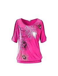 Women's Blouse Off Shoulder Short Sleeve Feather Print Tops Sweater T-shirt