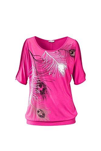 Blusa de las mujeres de hombro manga corta pluma tapas impresión suéter camiseta RoseRed