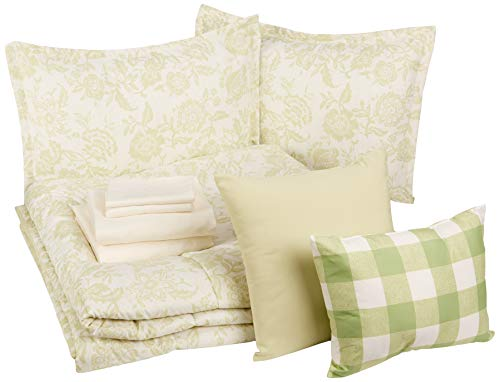 AmazonBasics Bed-in-a-Bag - Soft, Easy-Wash Microfiber - 10-Piece King, Green Vintage Floral (10 King Piece Bedding)