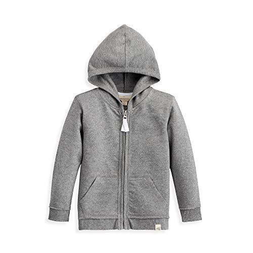 Burt's Bees Baby Baby Toddler Sweatshirt, Long Sleeve Zip-up Hoodies & Pullover Sweaters, 100% Organic Cotton, Boys Grey French Terry, 5 Years (Cotton Organic Childrens Clothing)