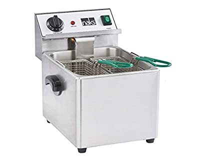 NAKS FS-15 Commercial Countertop Deep Fryer with 15-Pound Fry Tank, UL Listed