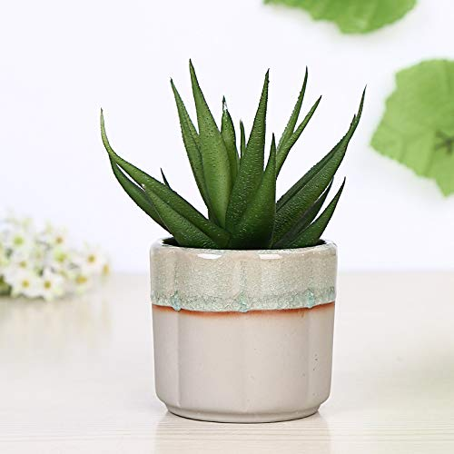 Ice Cracked Glazed Stoneware Mini Pumpkin Cylindrical Micro Landscape Ceramic Green Plant Pot, Pot Cactus Plant Pot Colorful Indoor Outdoor Garden Balcony Barrel Container Seeder