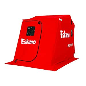 "Eskimo 25300 Sierra Portable Flip Ice Shelter with 60"" Sled and Swivel Seats, 2 Person"
