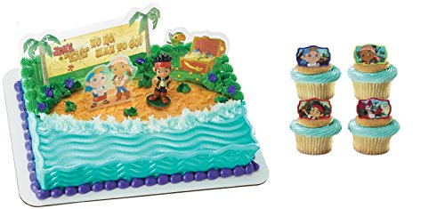 Disney Junior Jake and the Neverland Pirates Cake Topper PLUS 24 Cupcake Rings (Jack Neverland Pirate)