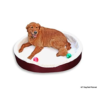 Dog Bed King USA Extra Large Imitation Lambswool Dog Bed, 42-Inch by 32-Inch by 7-Inch, Burgundy