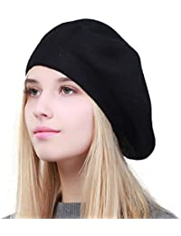 ab15a2ebc6c Solid Color Warm Wool Spring Berets French Beanie Beret Hat for Women