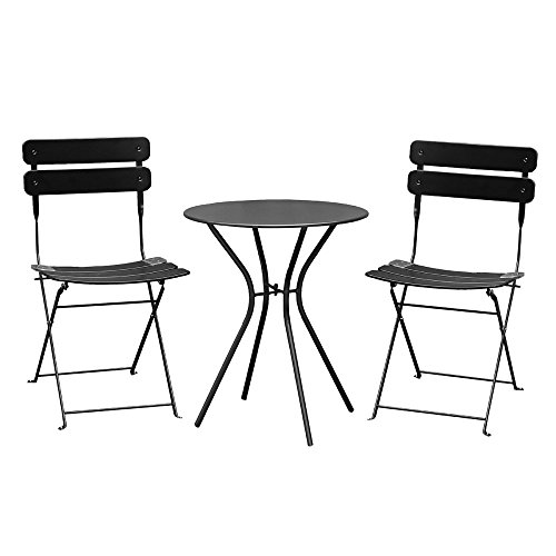 Living Express Outdoor Furniture Set 3 Piece Bistro Set, Foldable Table And 2 Chairs Set,Steel Bistro Dining Set for Indoor and Outdoor in Balcony,Pation,Lawn,Garden,Black Above Dining Sets
