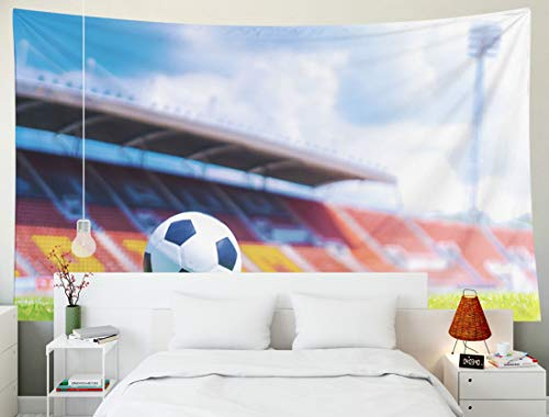 Yecationy Dorm Tapestry, Tapestry Psychedelic Tapestry 80x60 Inch Soccer Ball Green Grass Field Front The Goal Stadium Background Tapestry Wall Hanging Living Room Decoration Tapestries