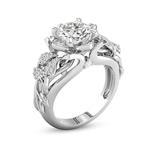 Clearance! WILLTOO Jewelry Fashion Forever Classic Flowers with Tiny Zircon Engagement Wedding Band Ring (Silver, US 8)