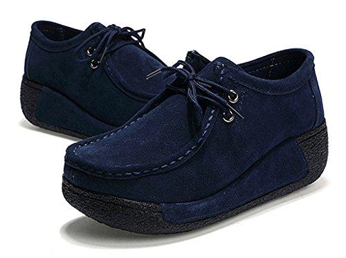 NEWZCERS Zapato de encaje-arriba ocasional de las mujeres que conduce los zapatos de la plataforma Azul
