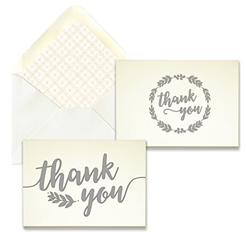 Grey Laurel Letterpress Thank You Card Assortment - Pack of 24 - 5