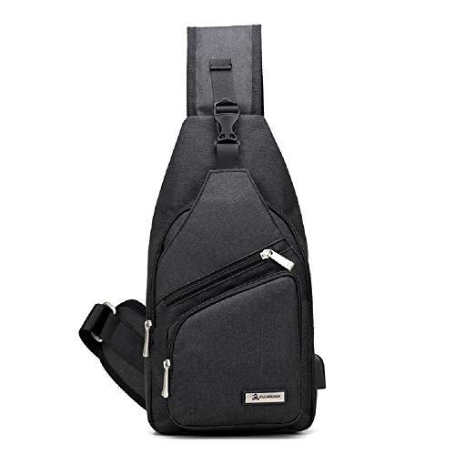 Bag Zhrui Shoulder Charger Usb Black Backpack Men Chest Waterproof pCFRqxwC