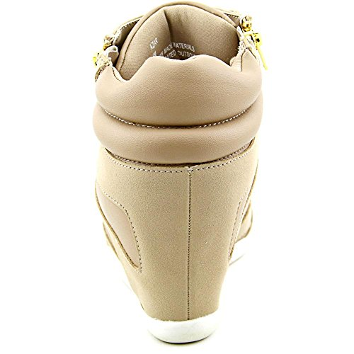Thalia Sodi Womens Azar Fabric Hight Top Rits Fashion Sneakers Taupe