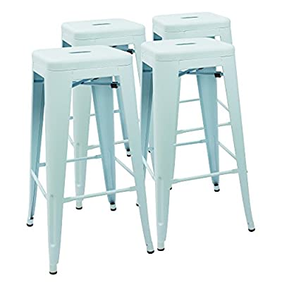 Devoko Metal Bar Stool 30'' Tolix Style INDOOR/OUTDOOR Barstool Modern Industrial Backless Light Weight Bar Stools With Square Seat Set of 4
