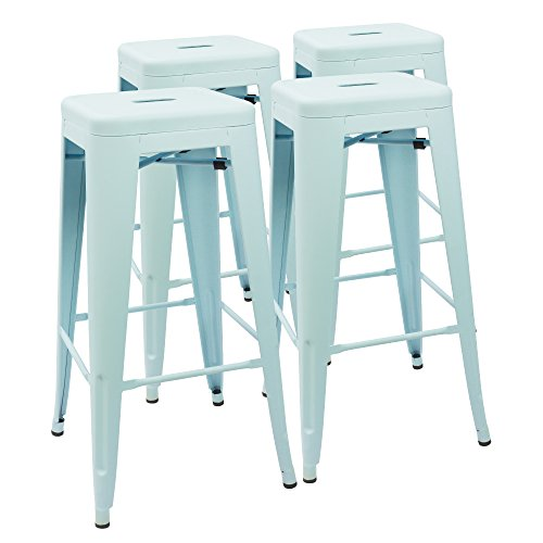 Devoko Metal Bar Stool 30 Tolix Style Indoor Outdoor Barstool Modern Industrial Backless Light Weight Bar Stools with Square Seat Set of 4 Blue