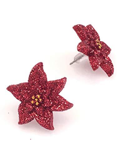 Christmas Red Poinsettia Post Earrings