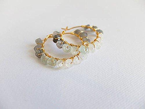 JP_Beads Labradorite, Aquamarine Moonstone Earrings Hoop Gemstone Gold Filled Hoop Wire Wrapped Earring Boho Hoop Beaded Earring, raw Cut,Labradorite 4 mm