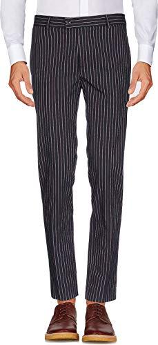auguswu Men's Flat Front Slim Fit Wool Chambray Pinstripe Suit Separate Pant 32W¡Á32L - Pinstripe Front Flat Pant