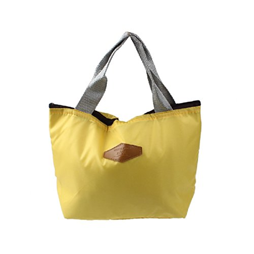 Shensee Simple Cute Waterproof Portable Picnic Insulated Food Storage Box Tote Lunch Bag (Yellow)