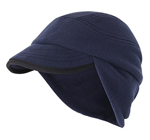 inter Skull Cap Outdoor Windproof Polar Fleece Earflap Hat with Visor Navy Blue (Fleece Lightweight Cap)