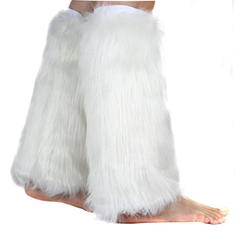 Boot Cuff Fluffy Soft Furry Faux Fur Leg Warmers Boot Toppers Costume Cosplay White -