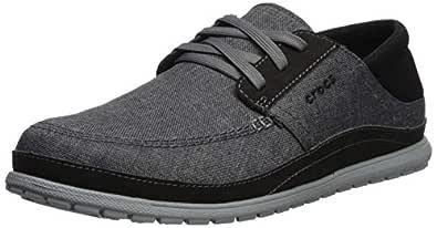 Crocs Men's Santa Cruz Playa Lace-Up Sneaker   Comfortable Casual Loafer, Slate Grey/Light Grey, 7 M US