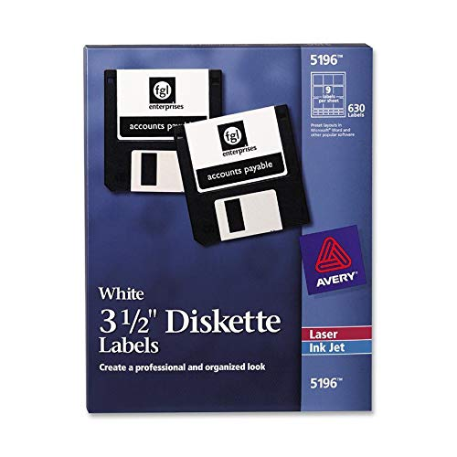 3.5 Diskette Labels - Avery 5196 White 3-1/2