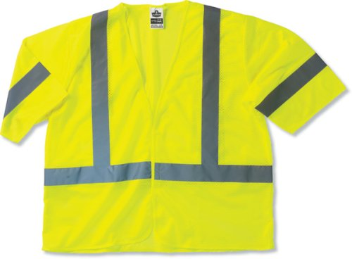 Occulux Economy Vest (GloWear 8310HL ANSI Class 3 Economy High Visibility Lime Reflective Safey Vest with Sleeves,, Small/Medium)