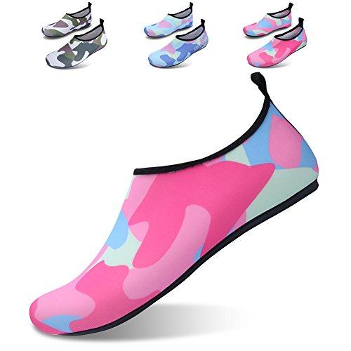 JIASUQI Frauen und Herren Classic Barfuß Wasser Sport Haut Schuhe Aqua Socken für Beach Swim Surf Yoga Übung Camou / Rosa